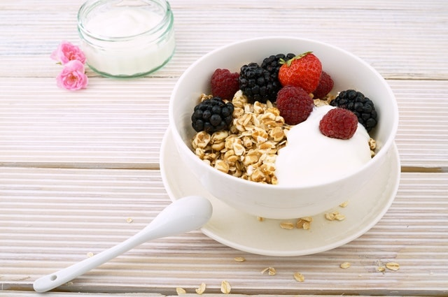 Cereal Bowl with Yogurt and Fruits