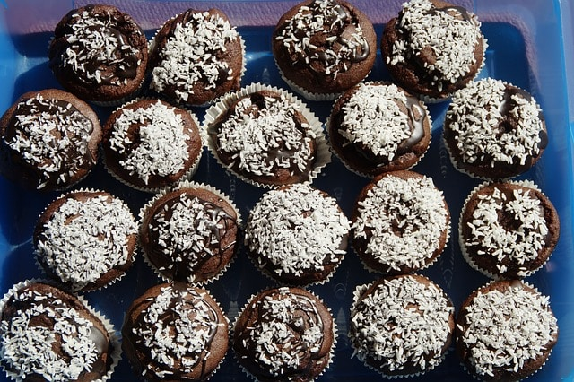 Coconut Topping Choc Muffins