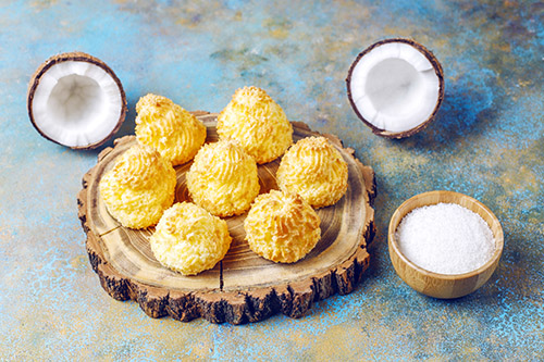 Delicious homemade coconut macaroons with fresh coconut,top view