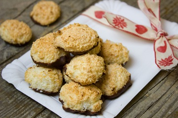 Chocolate Dipped Coconut Macaroons