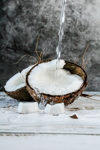 Split coconut with water