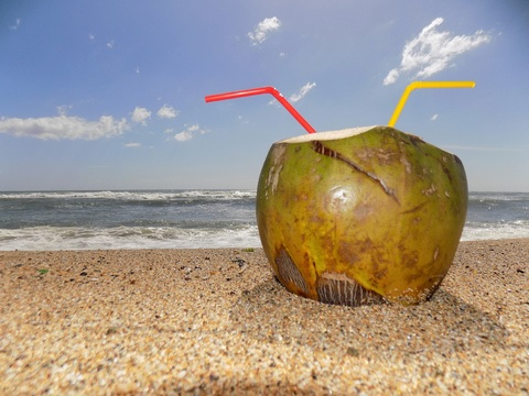 king coconut at the beach