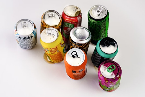 Variety of can drinks