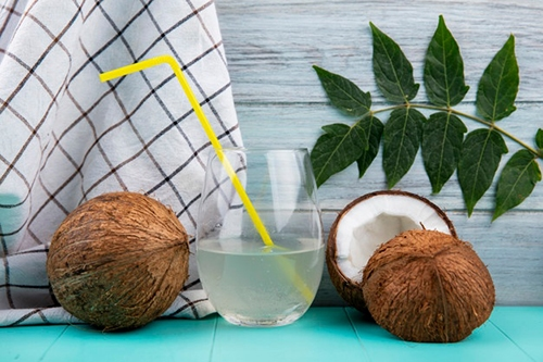 glass of clear coconut water